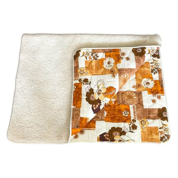 Sleepy-Wool / ľanová deka v hnedej a kvetinovej farbe