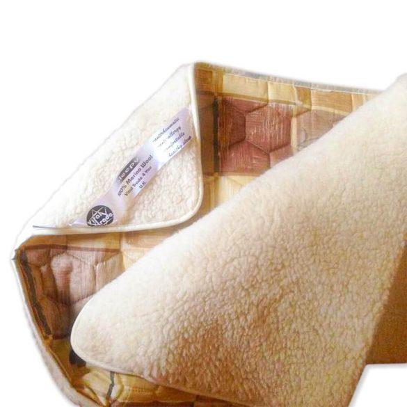 Sleepy - Mintás Gyapjú/vászon takaró, barna színben